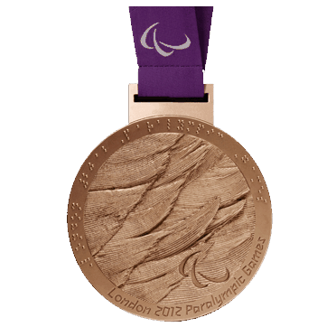 A photo of Oksana's bronze medal for Trunk and Arms Mixed Double Sculls at the 2012 Paralympic Games.