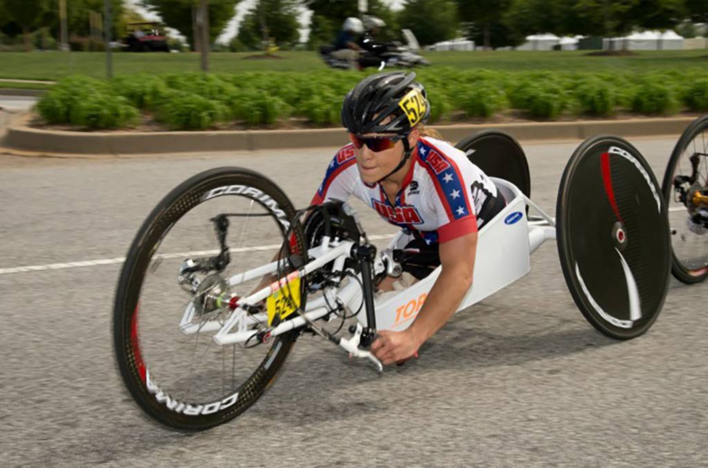 A photo of Oksana competing in Paracycling Hand Cycling Road Races at the UCI Paracycling Road World Championships.