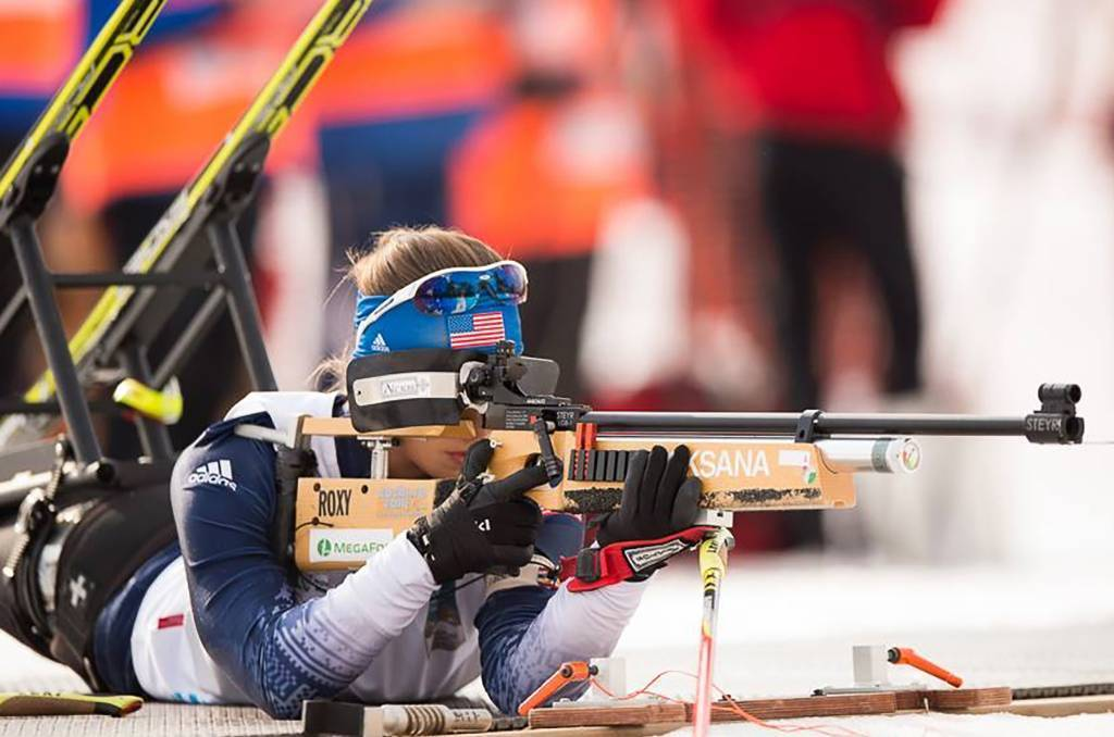 A close up photo of Oksana competing in the Nordic Biathalon during the 2014 Paralympic Winter Games.