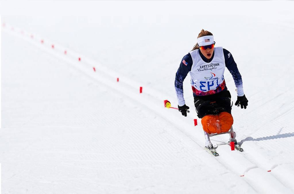 A photo of Oksana competing in Nordic Skiing at the 2014 Paralympic Winter Games in Sochi.